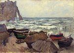Клод Моне Рыбацкие лодки на побережье в Этрета 1884г