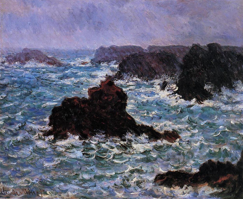 Клод Моне картина Бель-�ль, эффект дождя 1886г