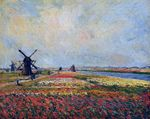 Клод Моне Поля цветов и мельницы близ Лейдена 1886г