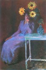 Клод МонеПортрет Сюзанны Хосхеде с подсолнухами 1890г