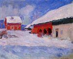 Клод Моне Красные дома Бьорнегаарда в снегу. Норвегия 1895г