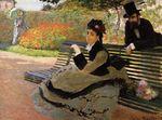 Клод Моне Камилла Моне на садовой скамейке 1873г