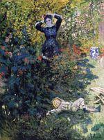 Клод Моне Камилла и Жан Моне в саду в Аржантёе 1873г
