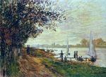 Клод Моне Берег реки у Пти-Женевильер, закат 1875г