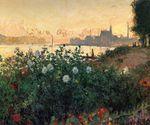 Клод Моне Аржантёй, цветы у речного берега 1877г 54х65см
