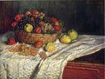 Клод Моне Фруктовая корзина с яблоками и виноградом 1879г
