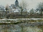 Клод Моне Церковь в Ветёе, снег 1879г