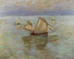 Клод Моне Рыбацкие лодки в Пурвиле 1882г