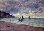 Клод Моне Рыбацкие лодки у берега и скалы Пурвиля 1882г