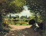 Адольф Моне читает в саду 1866