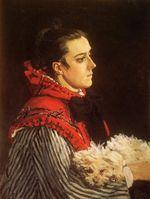 Камилла с маленькой собачкой 1866