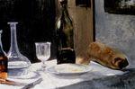 Натюрморт с бутылкой, графином, хлебом и вином 1862г