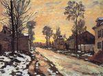Клод Моне Дорога в Лувесьенн, тающий снег, закат. 1870г