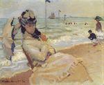 Клод Моне Камилла на побережье в Трувиле. 1870г