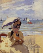 Камилла сидит на побережье в Трувиле. 1871г