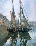 Клод Моне Рыбацкие лодки в Онфлере. 1868г