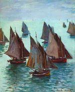 Клод Моне Рыбацкие лодки, спокойное море. 1868г